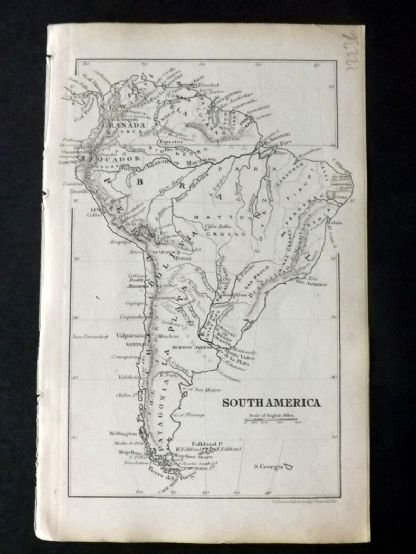 Cornwell & Dower 1849 Antique Map. South America